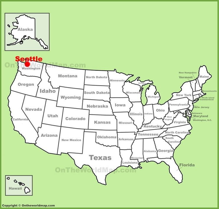 Seattle location on the U.S. Map