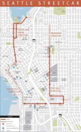 Seattle streetcar map