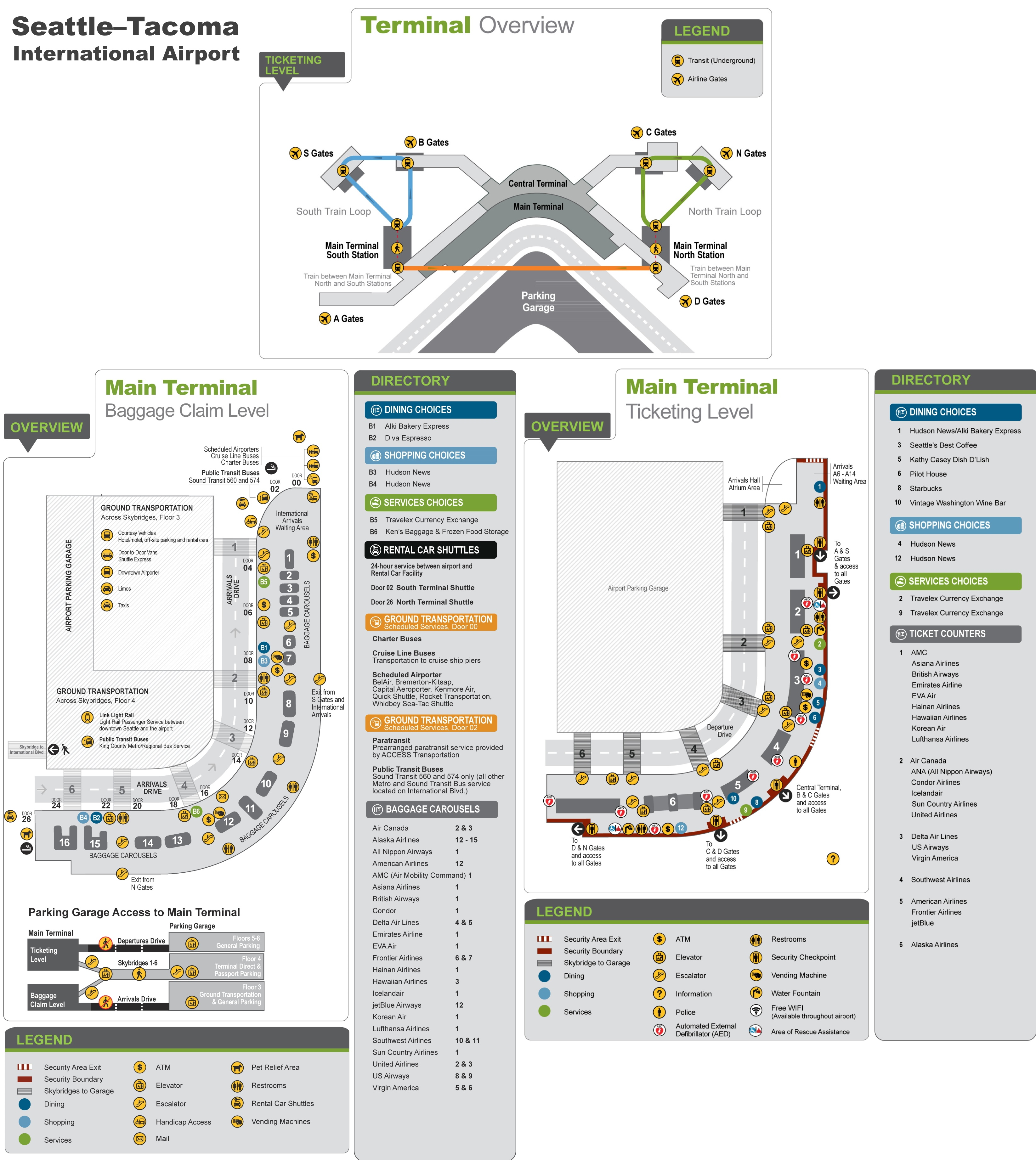Map Of Seattle Airport Seattle Tacoma International Airport map Map Of Seattle Airport