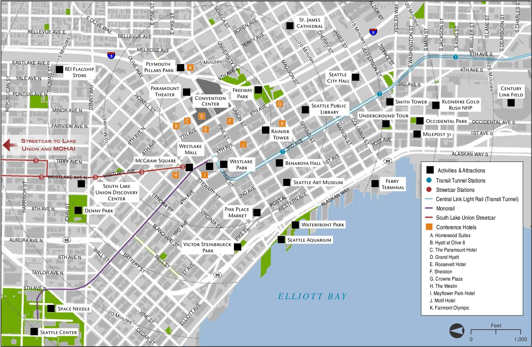 Seattle Maps Washington US – Ohio Tourist Attractions Map