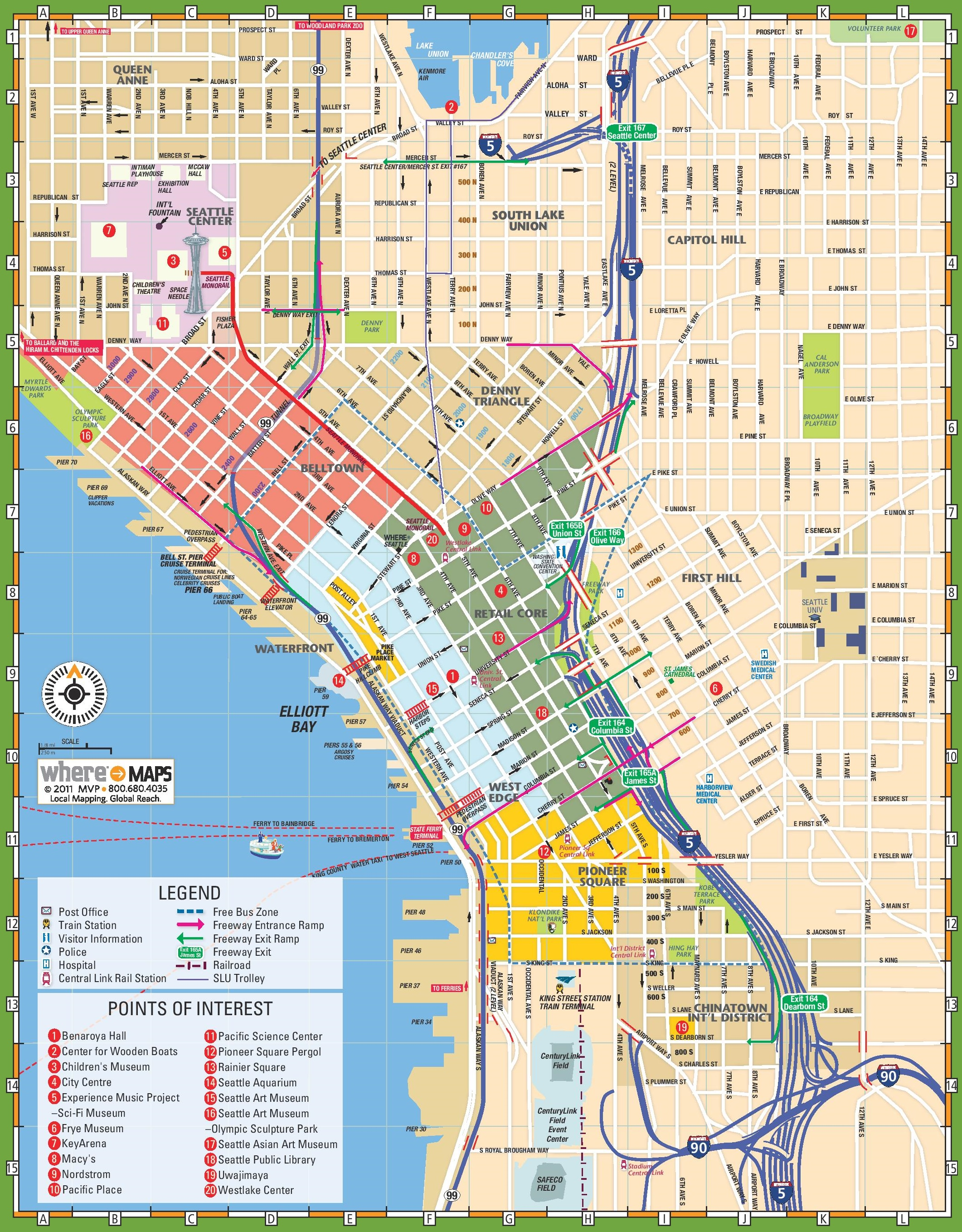 Seattle Maps Washington US – Tourist Attractions Map In Seattle