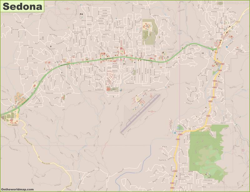 Detailed Map of Sedona