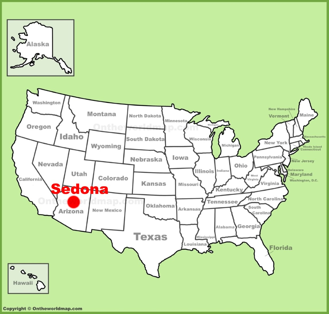 Sedona location on the U.S. Map