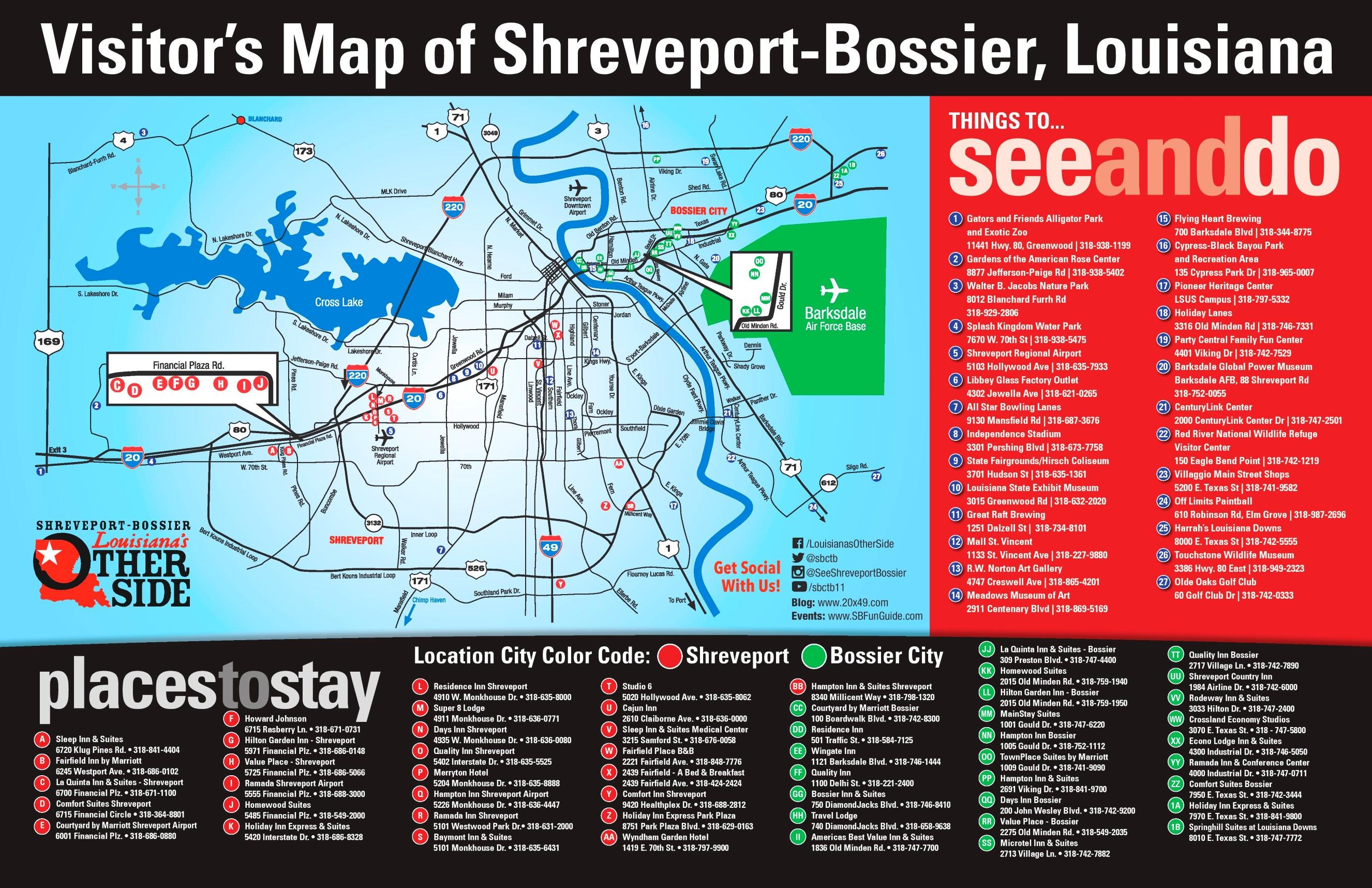 Shreveport and Bossier City tourist map