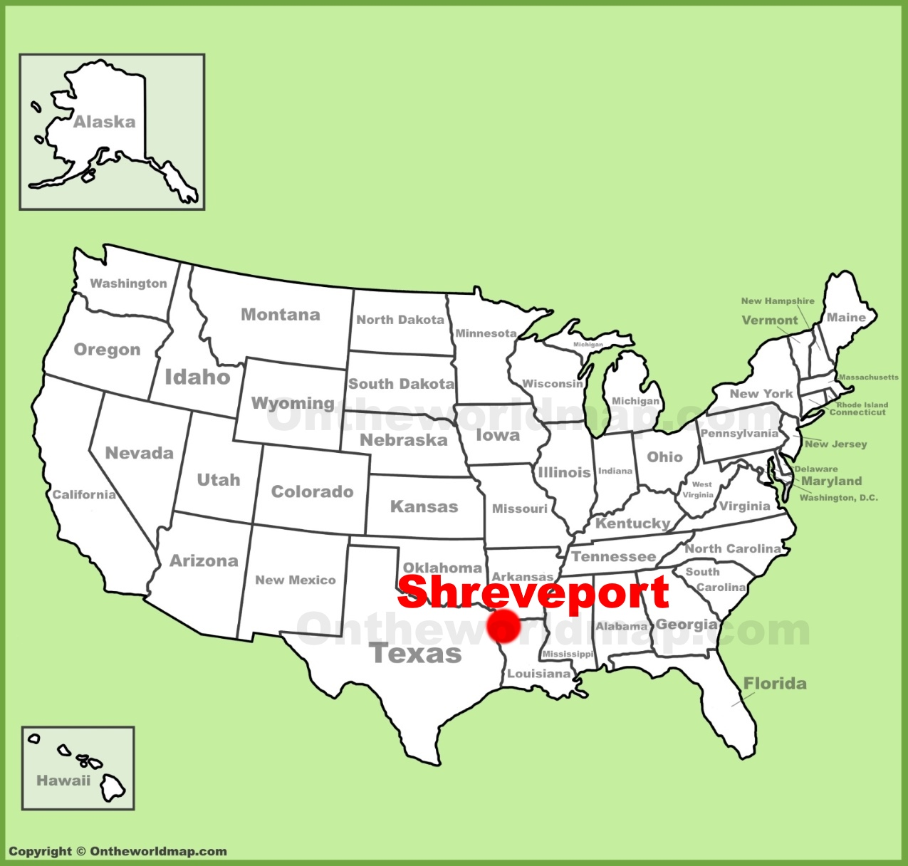 Shreveport location on the US Map