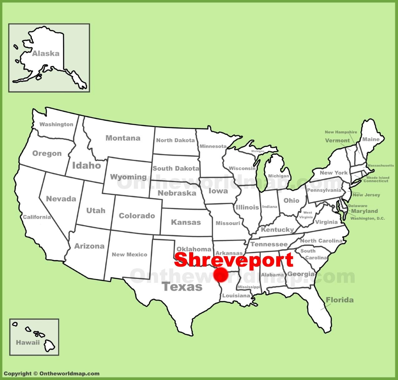 Shreveport location on the US Map