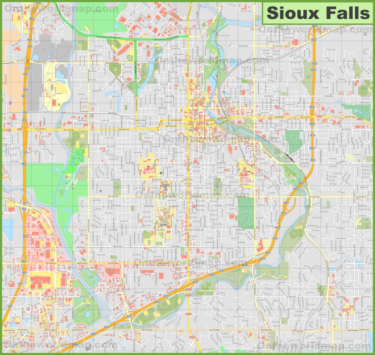 Large detailed map of Sioux Falls