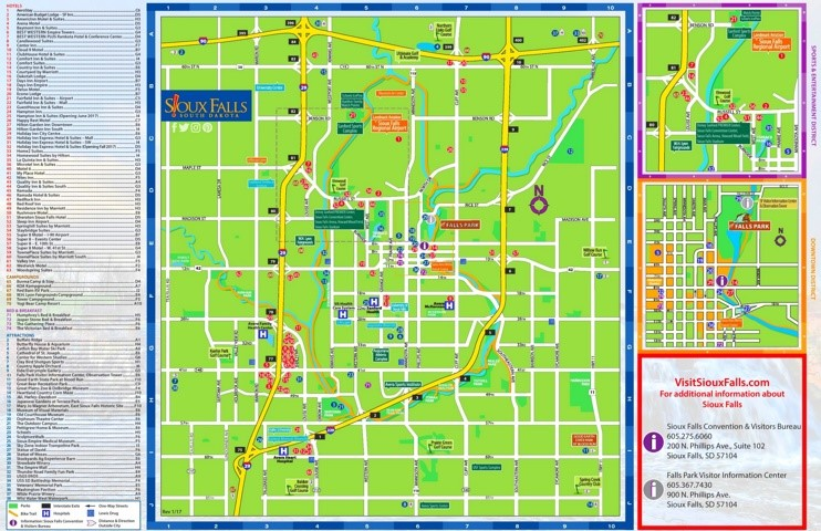 Sioux Falls hotels and sightseeings map