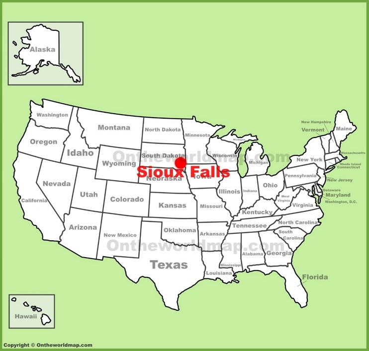 Sioux Falls location on the U.S. Map