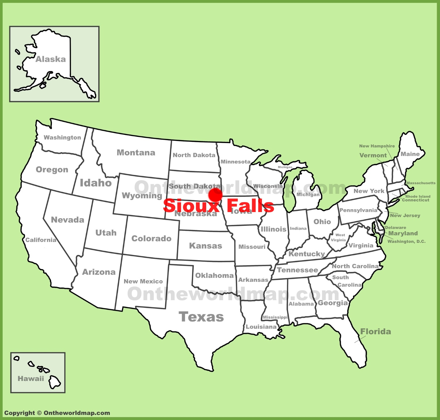 Sioux Falls Map Sioux Falls location on the U.S. Map