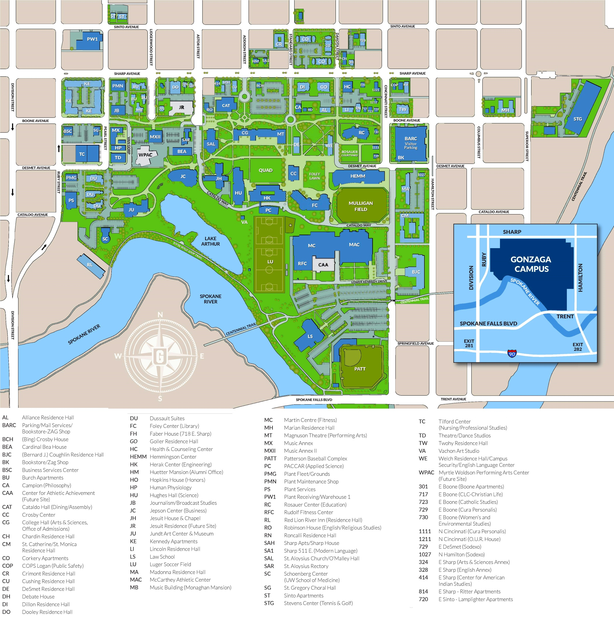 Gonzaga University Campus map