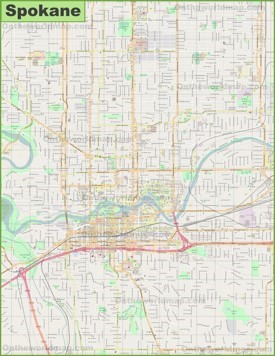 Large detailed map of Spokane