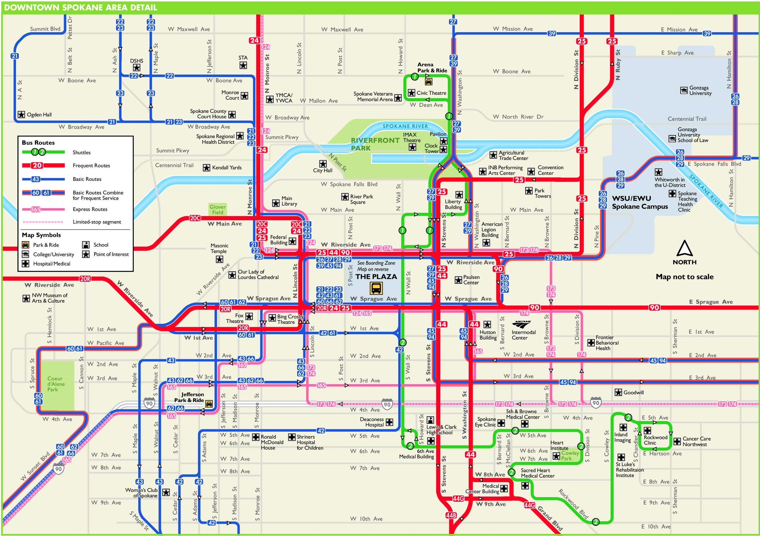 Spokane downtown transport map