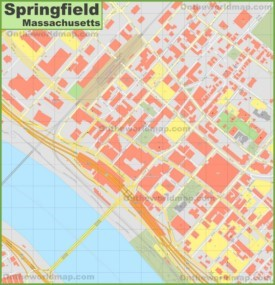 Springfield (Massachusetts) downtown map