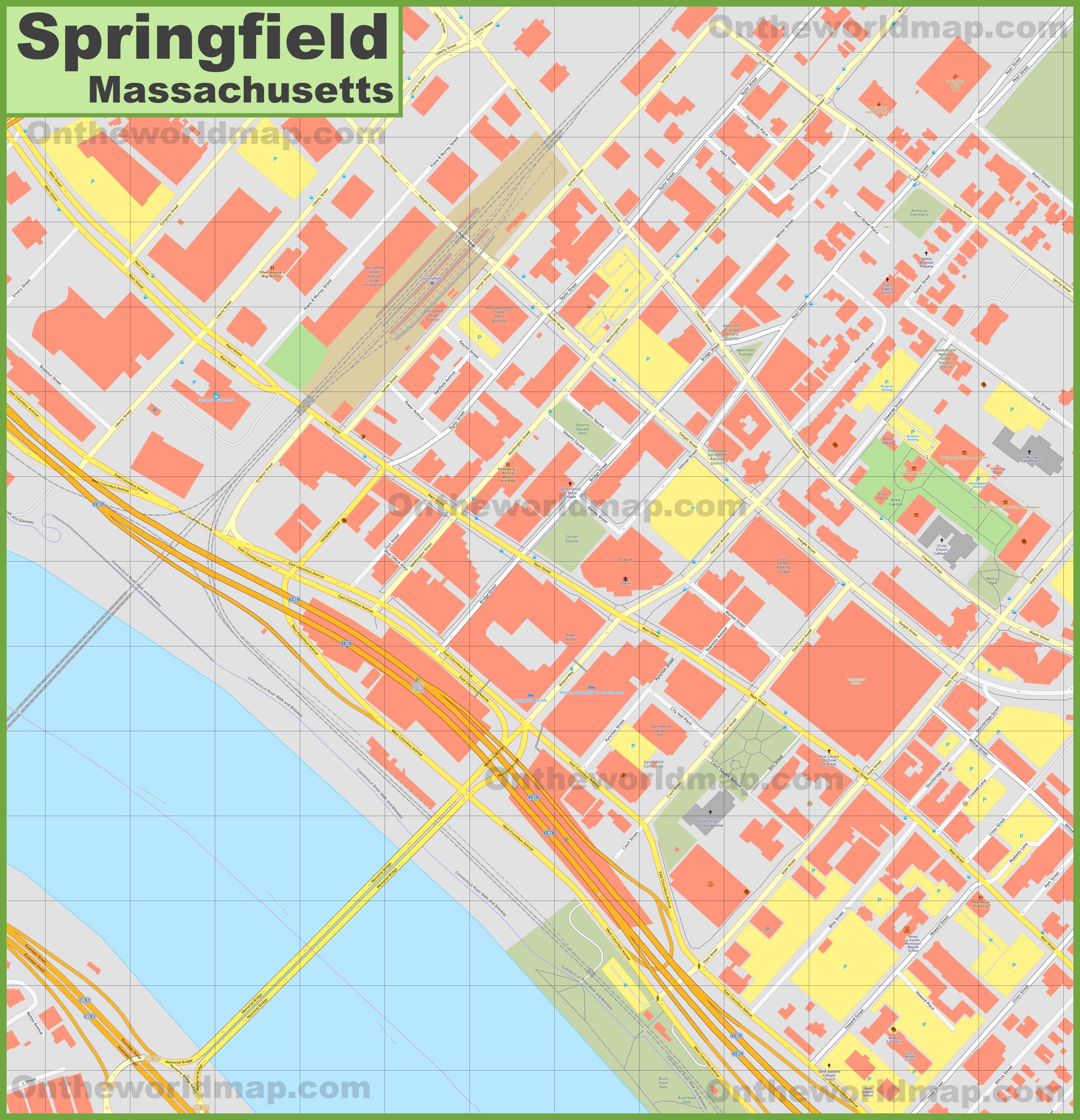 Springfield Usa Map.Springfield Massachusetts Downtown Map