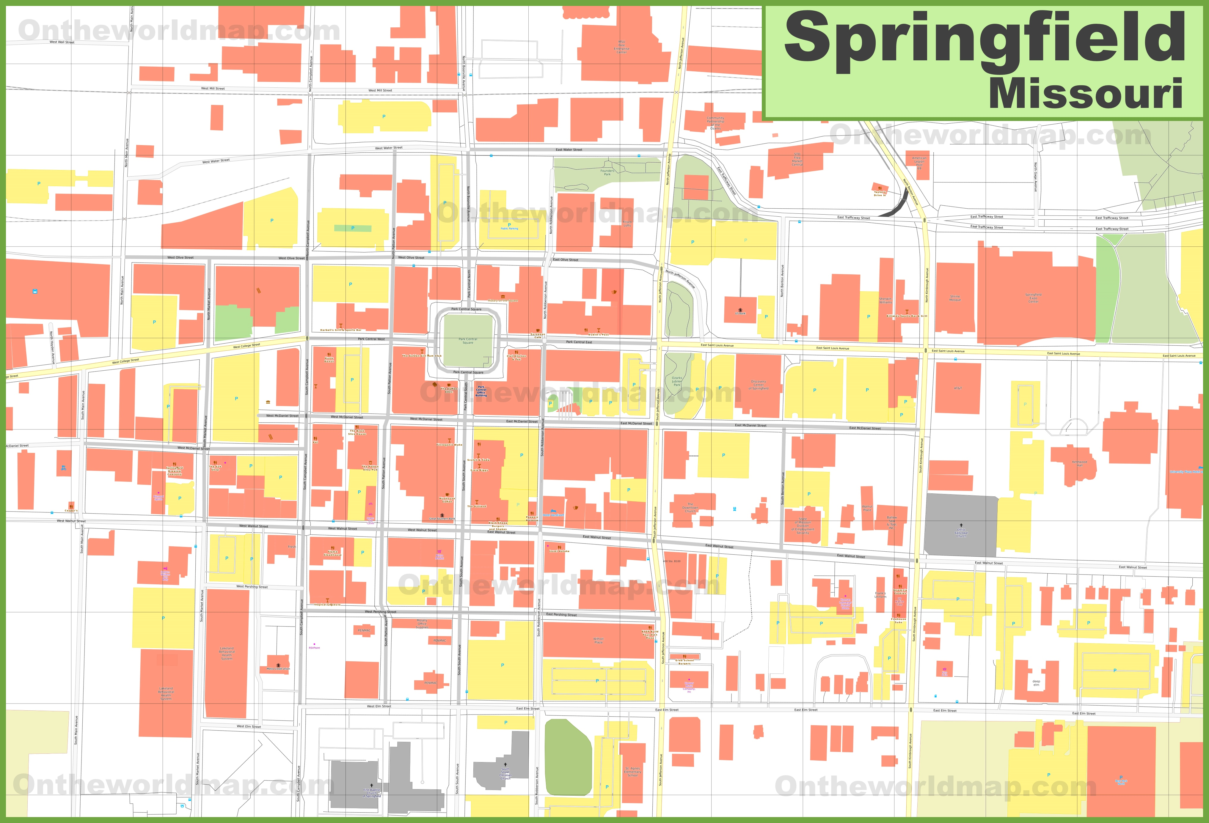 Springfield Missouri downtown map