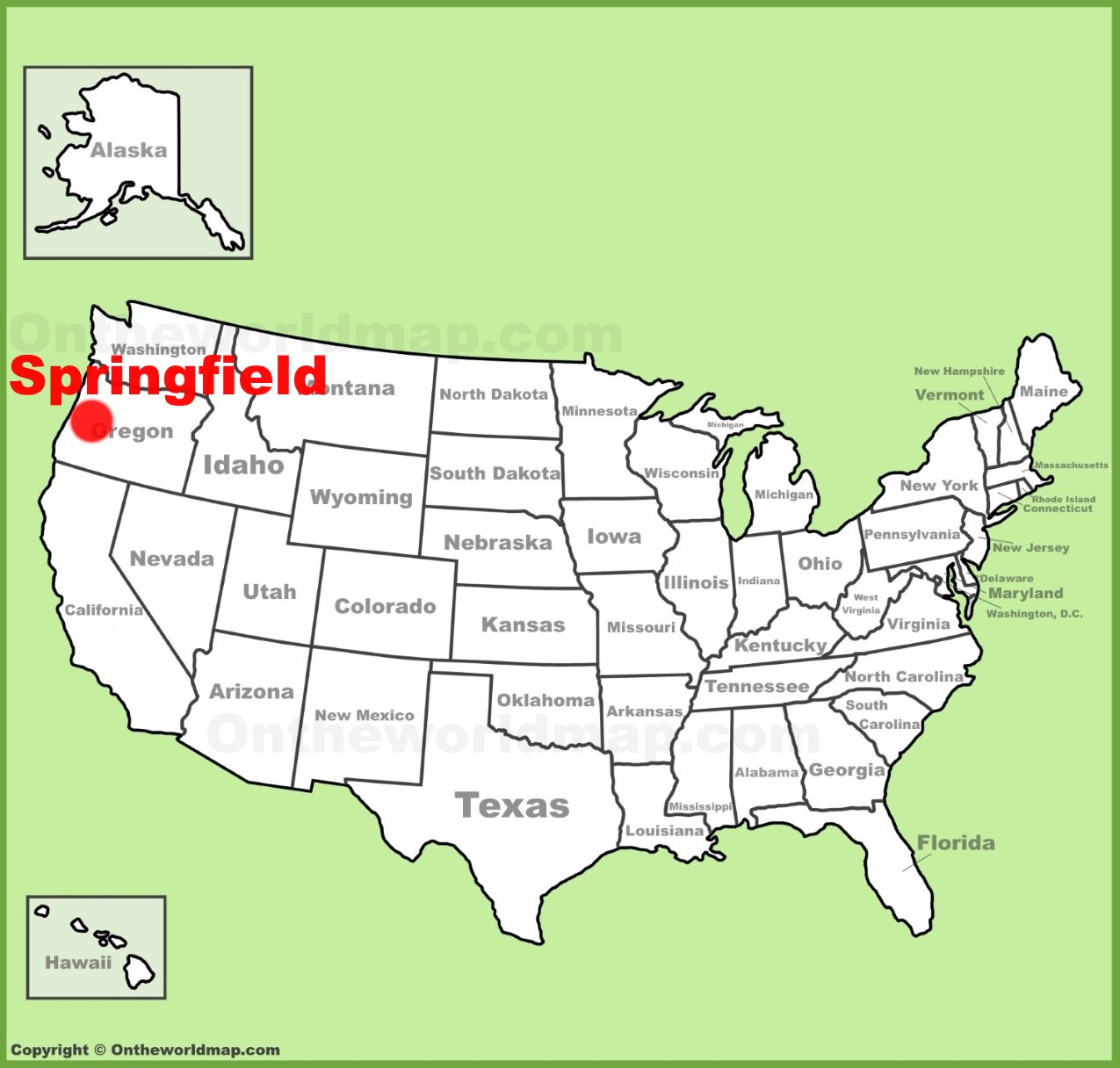 Map Of Springfield Oregon Springfield (Oregon) location on the U.S. Map