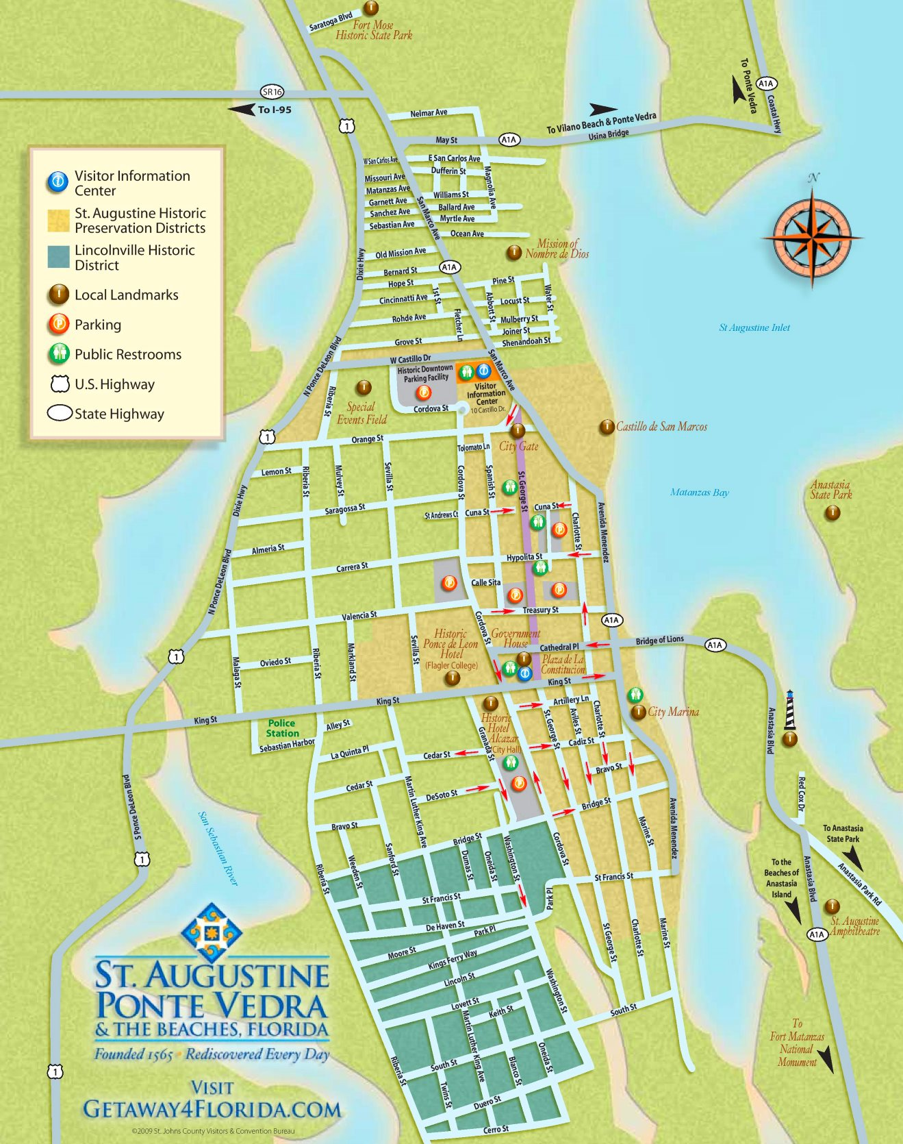 Map Of St Augustine St. Augustine tourist map