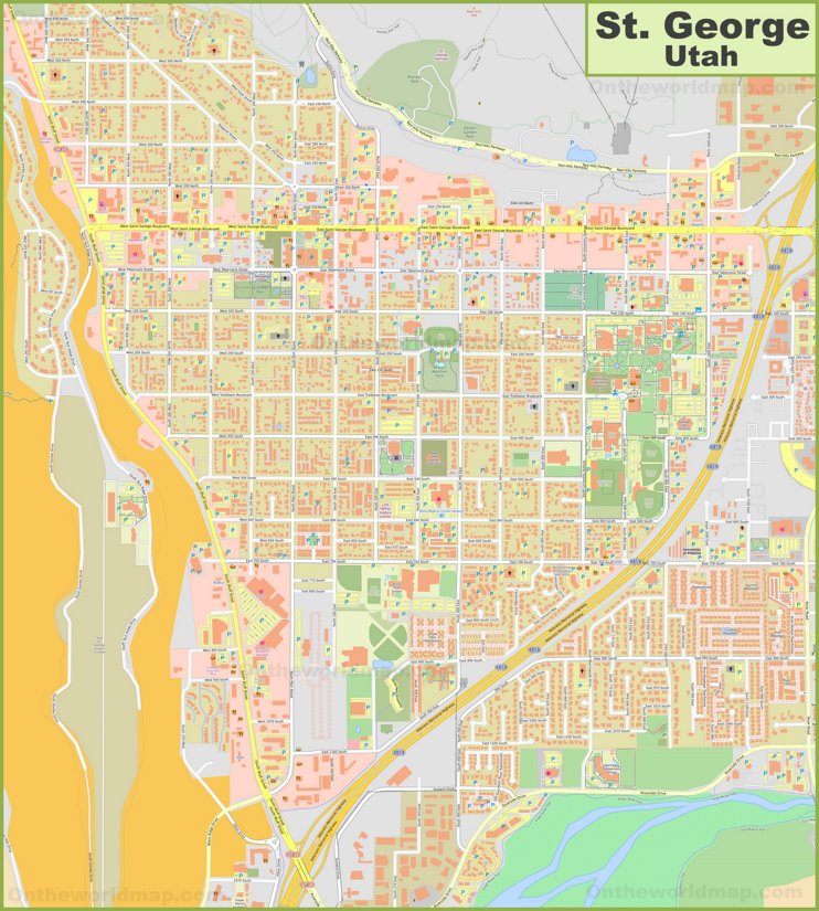 Large detailed map of St. George