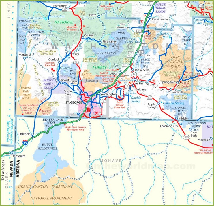 St. George area road map