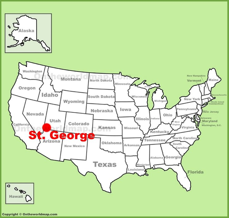 St. George location on the U.S. Map
