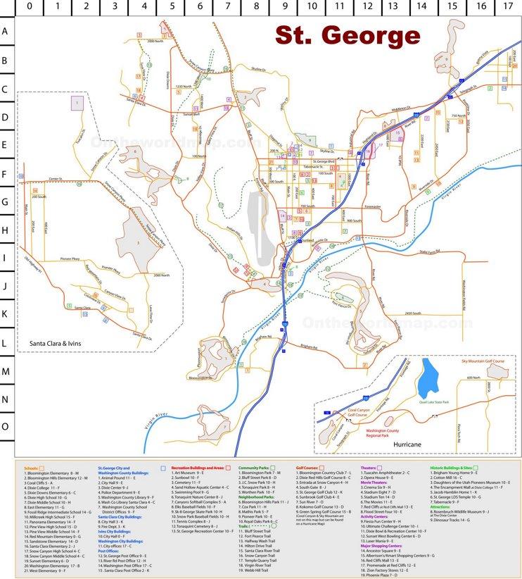 St. George tourist map