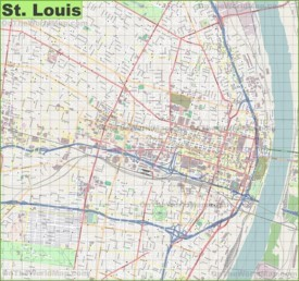 Large detailed map of St. Louis