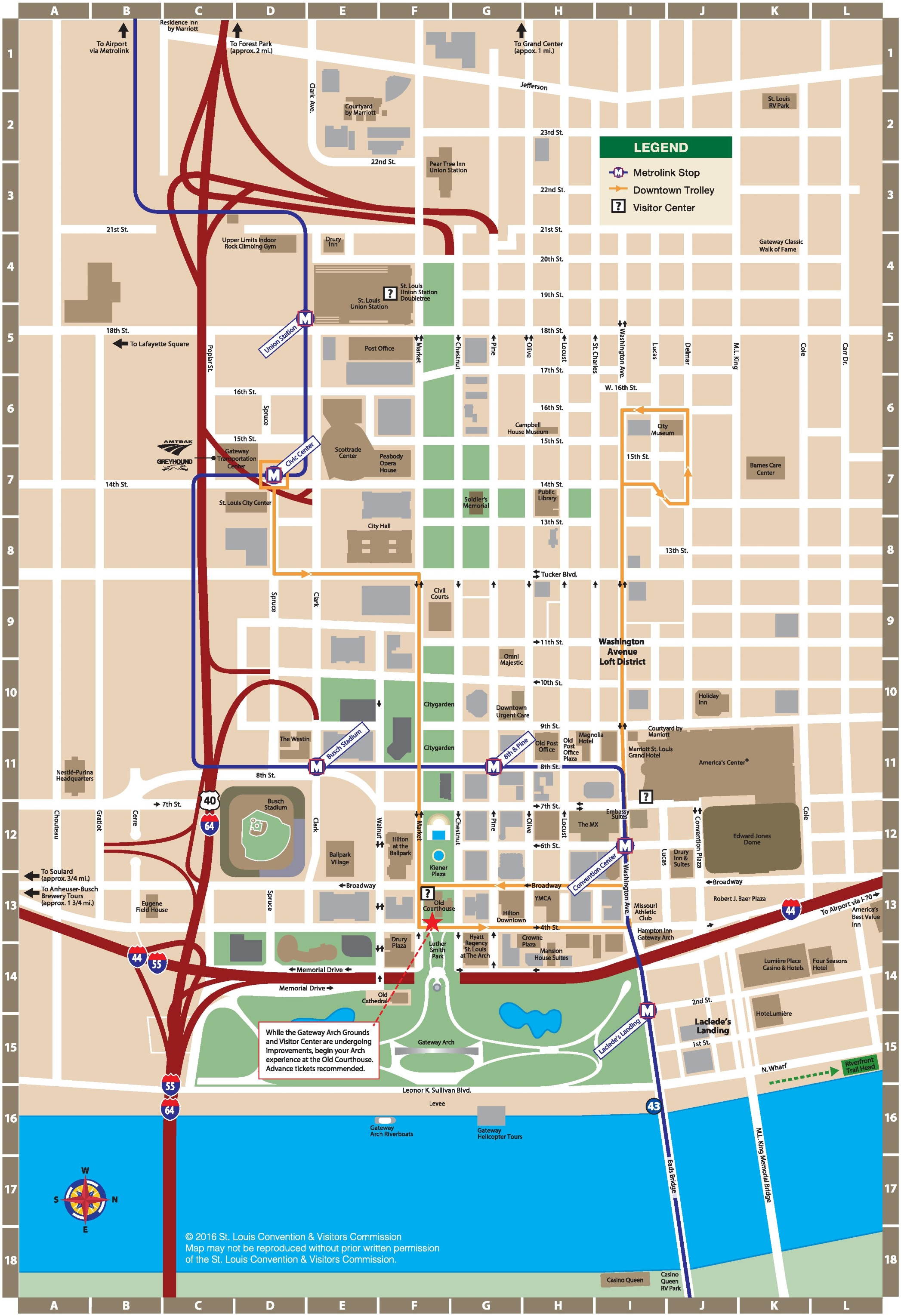 St. Louis downtown map