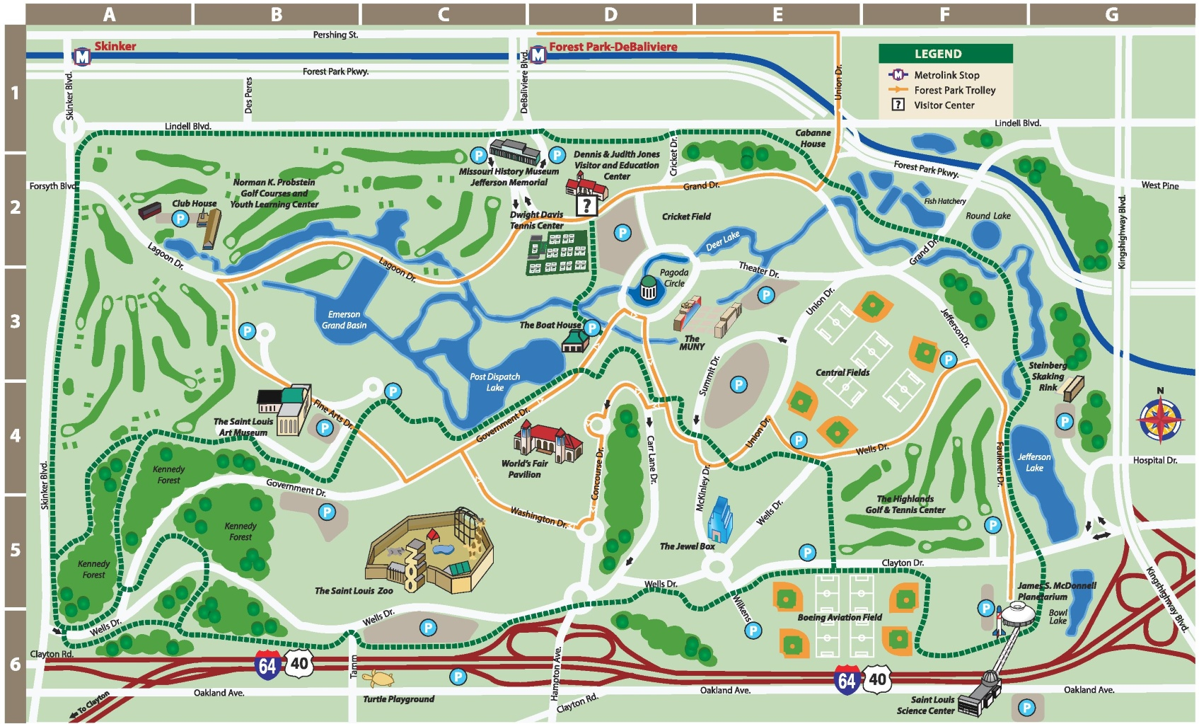 St Louis Forest Park Map - Park and forest land us map