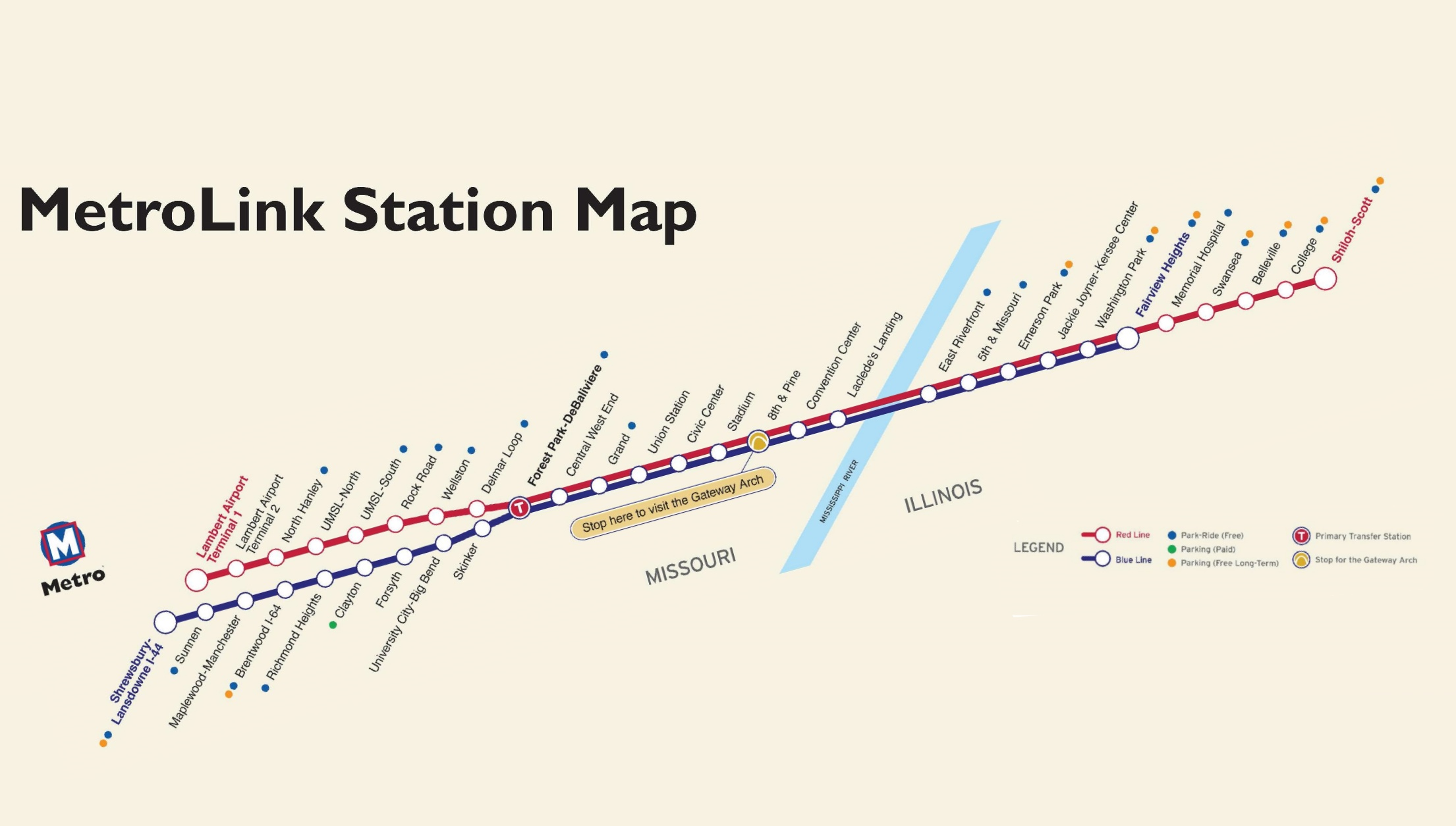 St Louis MetroLink map