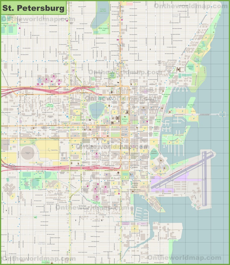 St. Petersburg downtown map