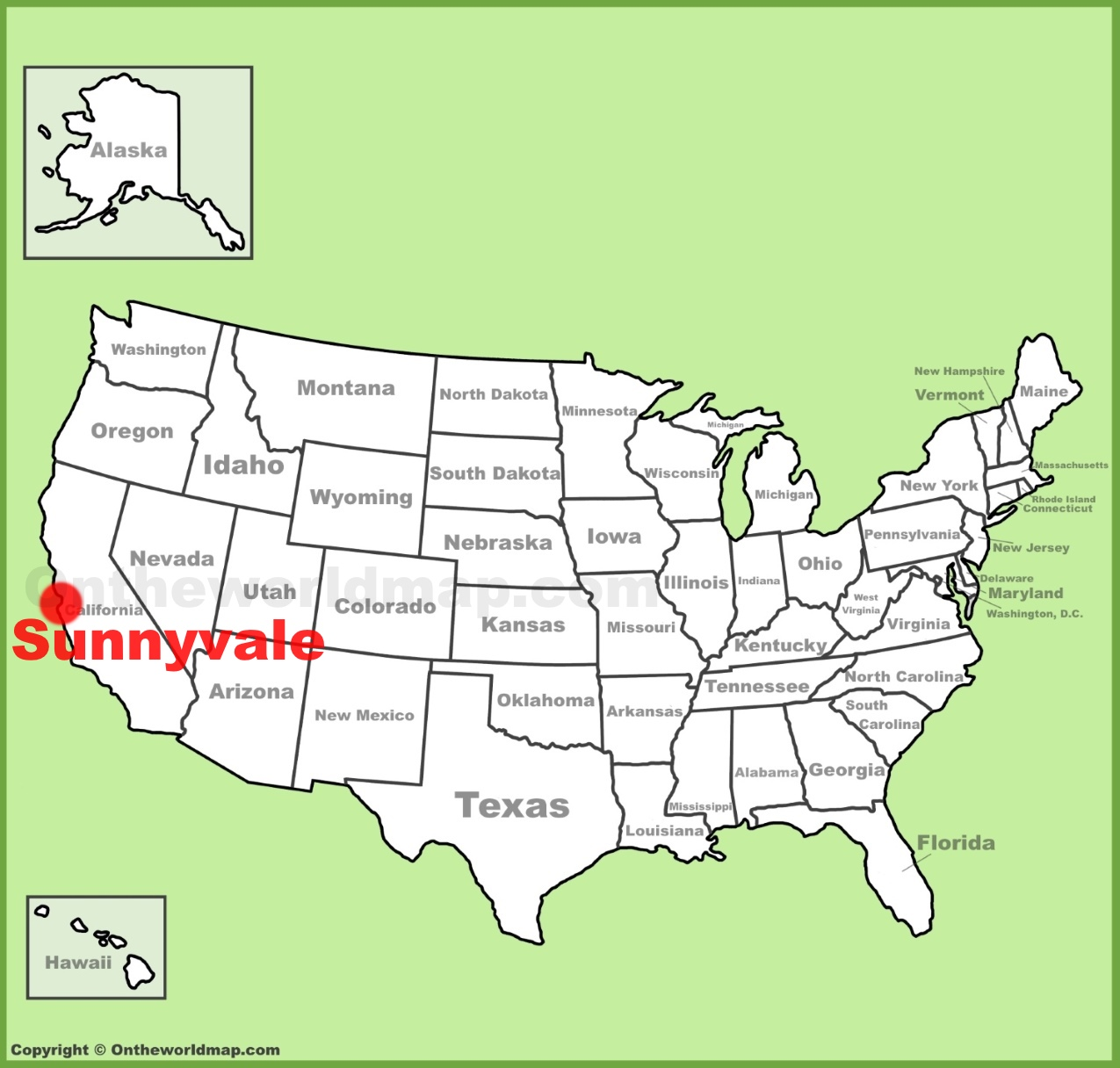 Sunnyvale location on the US Map