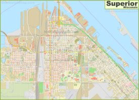 Large detailed map of Superior