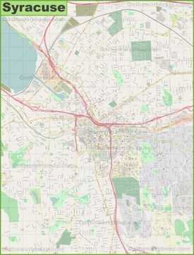 Large detailed map of Syracuse
