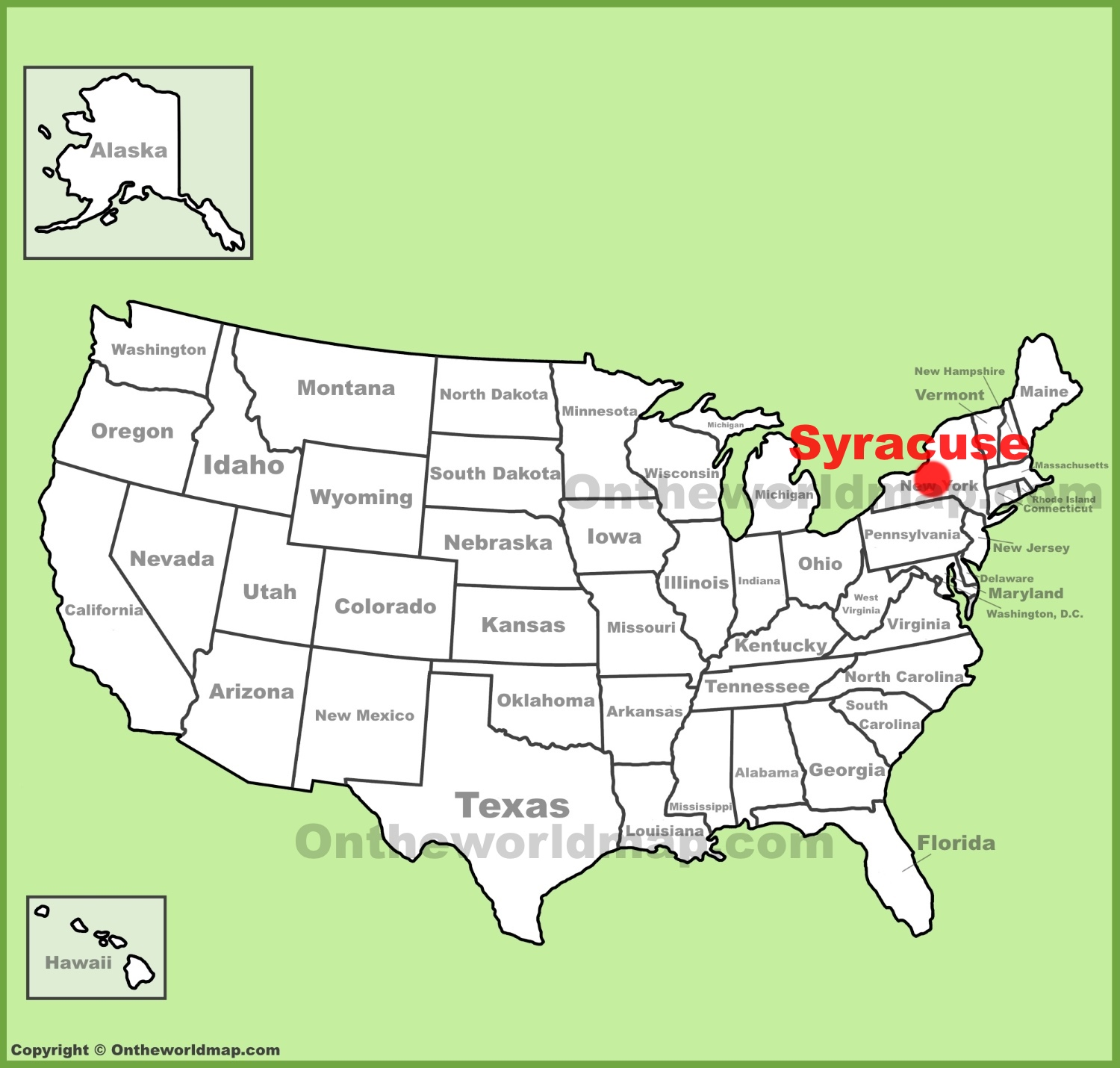 Syracuse location on the US Map