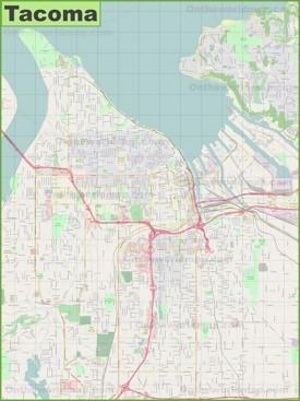 Large detailed map of Tacoma