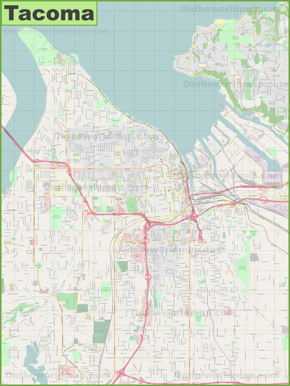 Map Of Tacoma Large detailed map of Tacoma