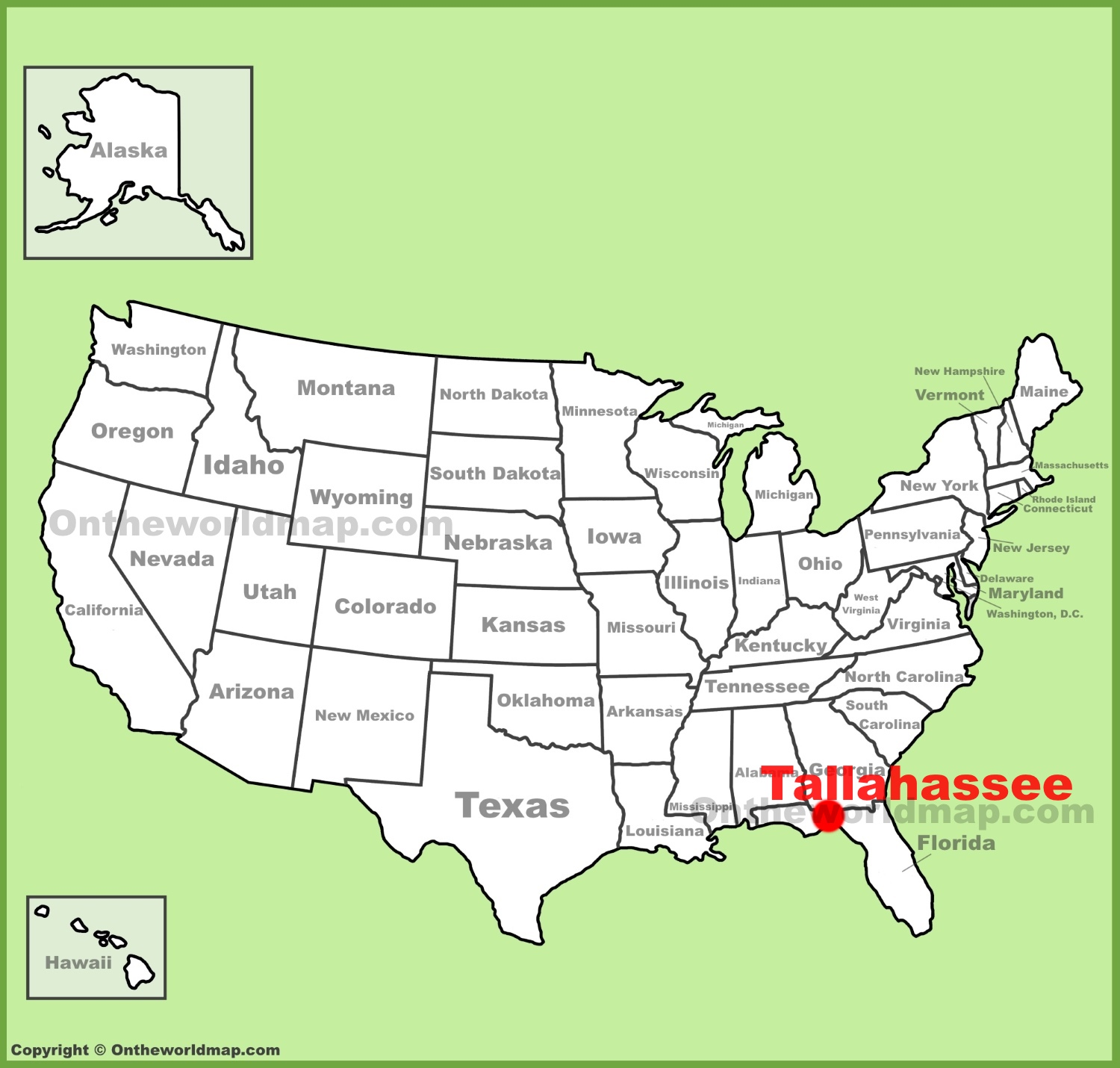 Tallahassee location on the US Map