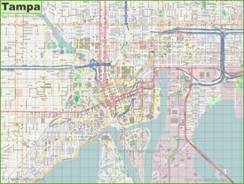 Large detailed map of Tampa