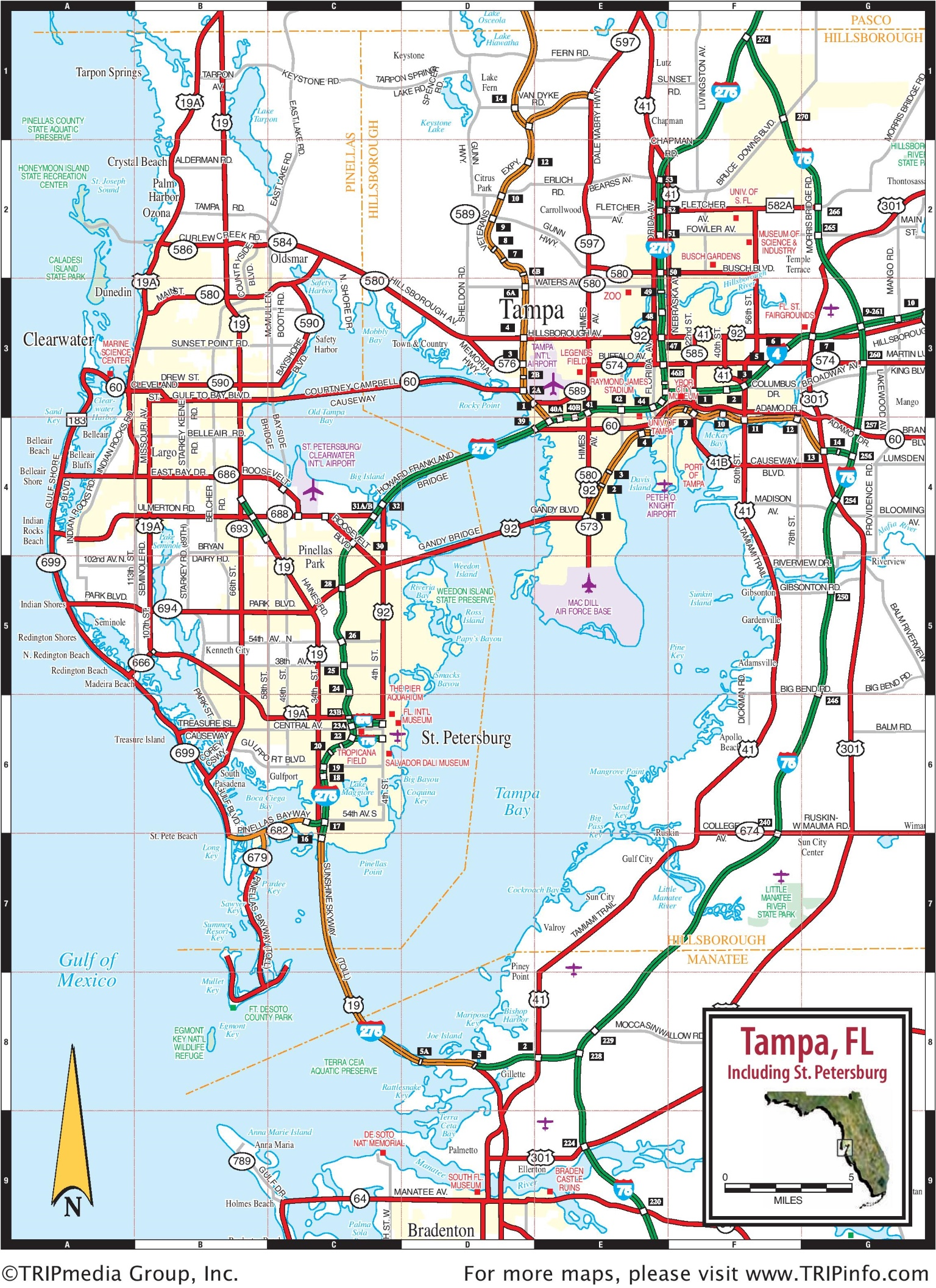 Tampa area road map