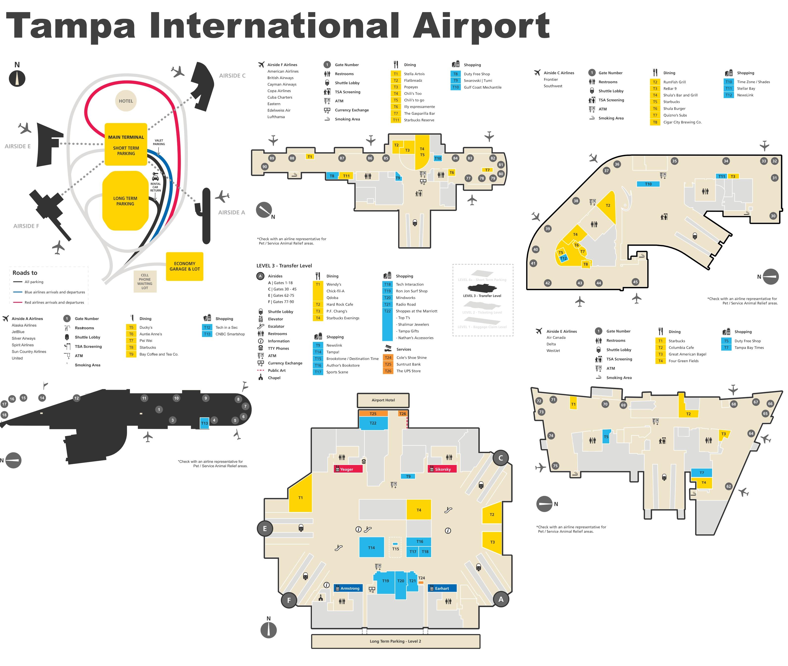 Tampa Airport Map Tampa International Airport map Tampa Airport Map