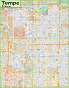 Large detailed map of Tempe