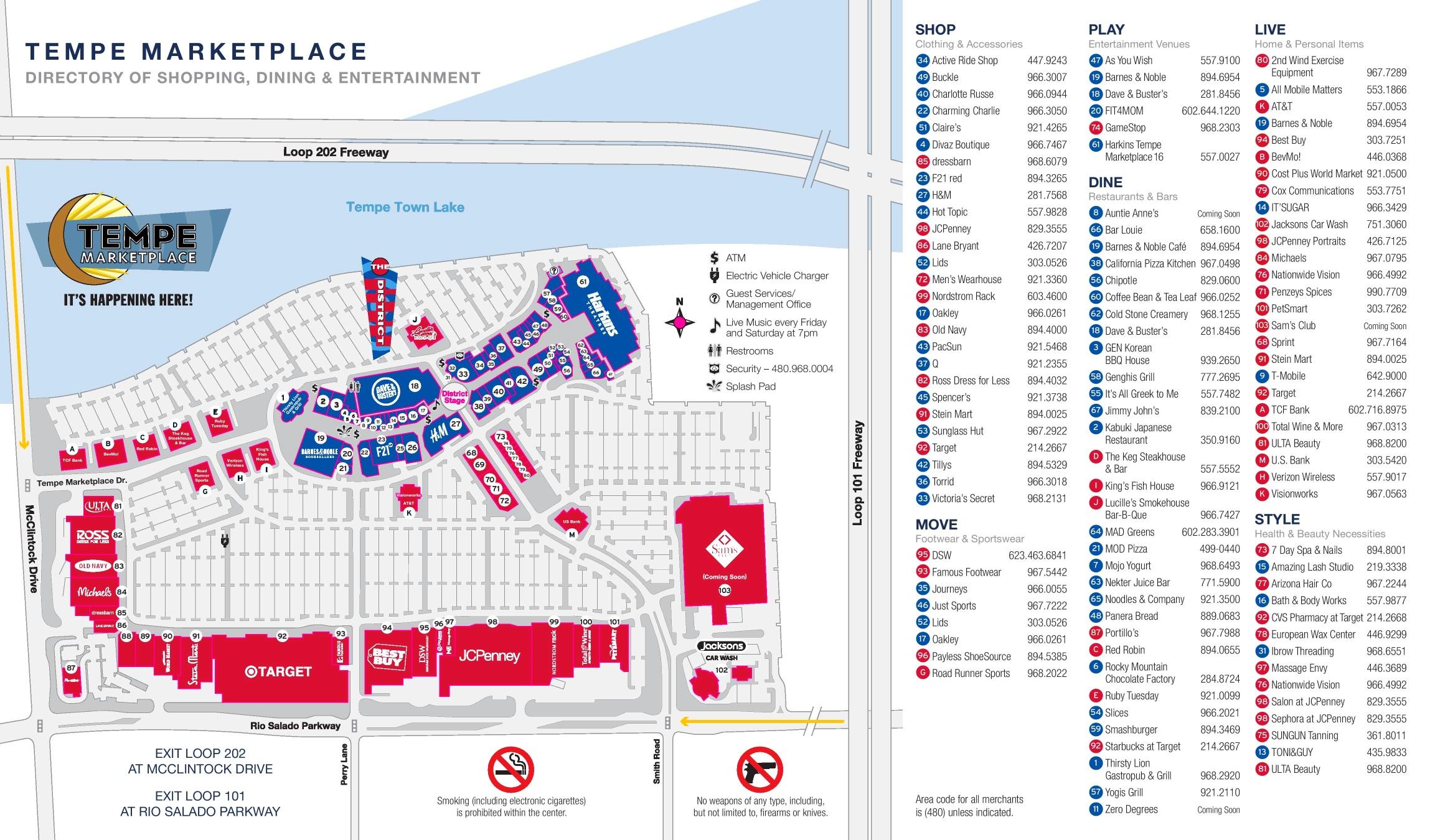 Tempe marketplace map