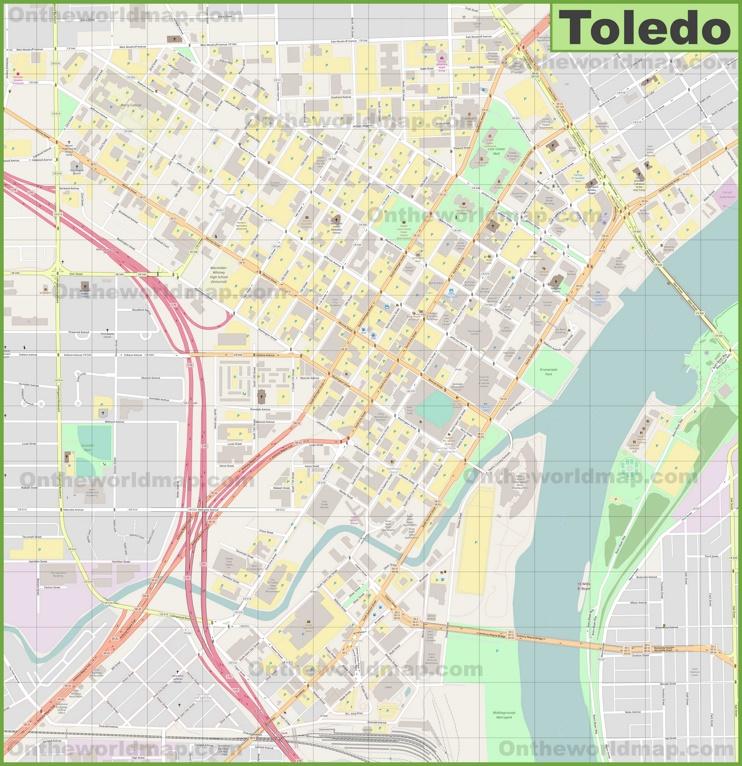 Toledo downtown map