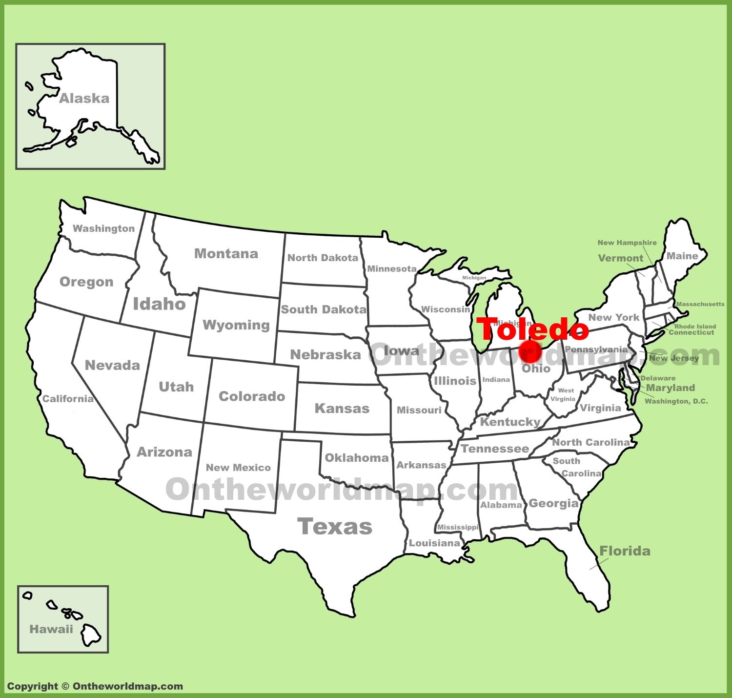Toledo location on the US Map