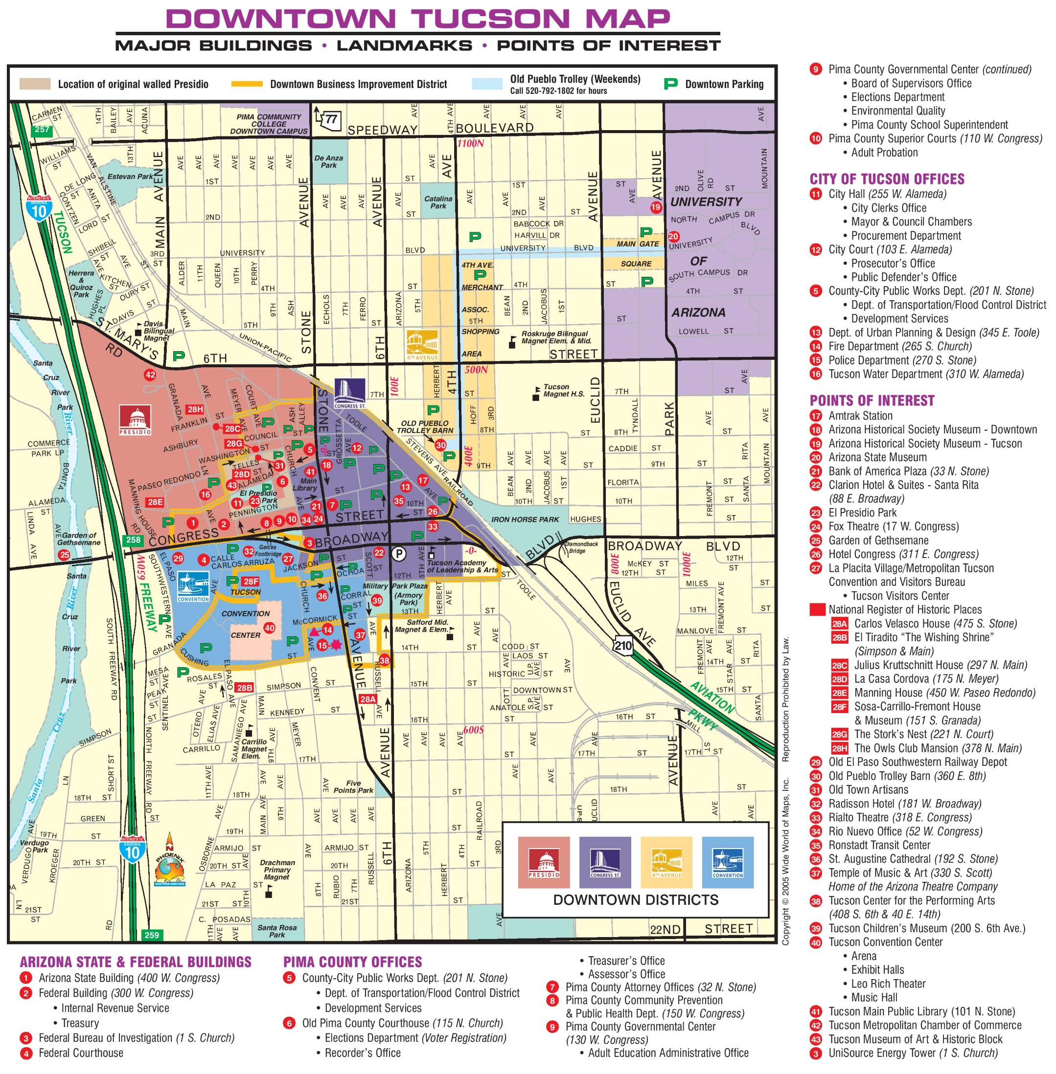 picture regarding Printable Map of Tucson Az titled Tucson downtown map