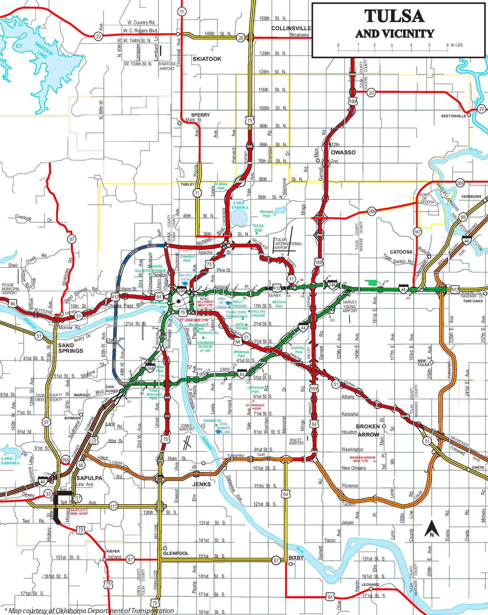 Map Of Tulsa Tulsa road map