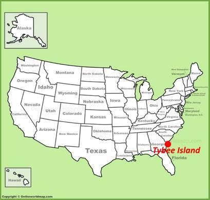 Tybee Island location on the U.S. Map