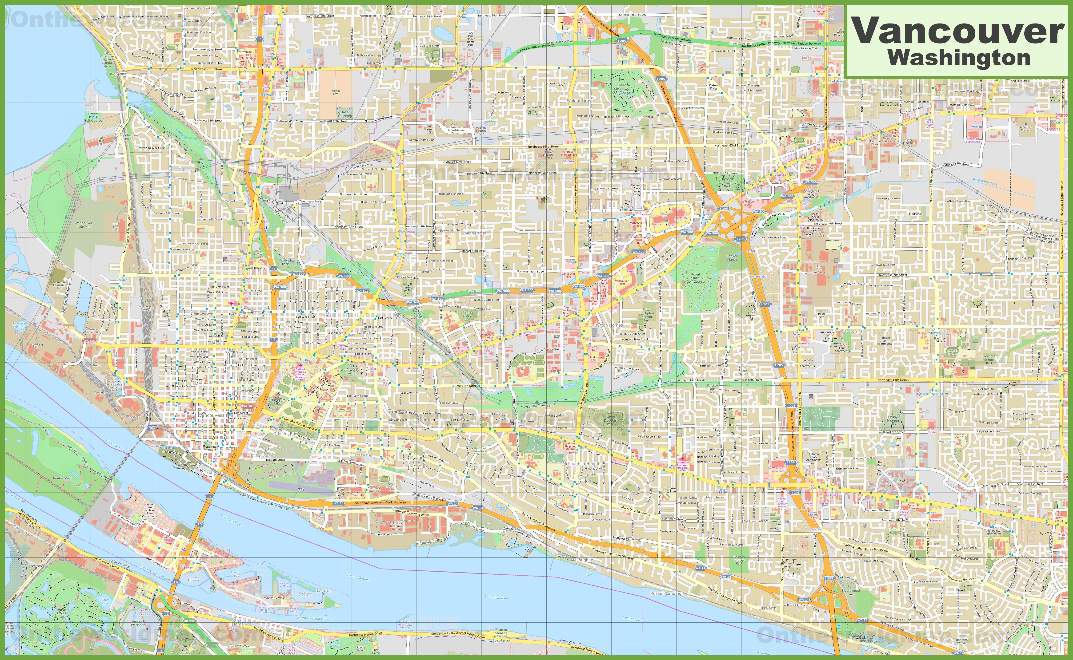 Large detailed map of Vancouver