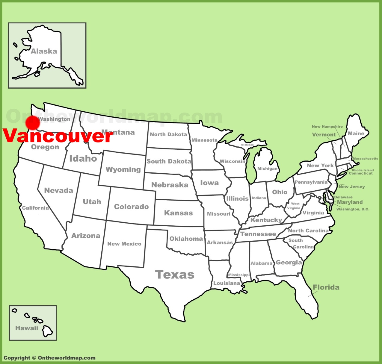 Vancouver location on the US Map